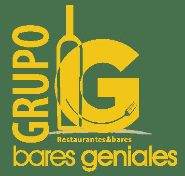 Logo del grupo bares geniales en amarillo